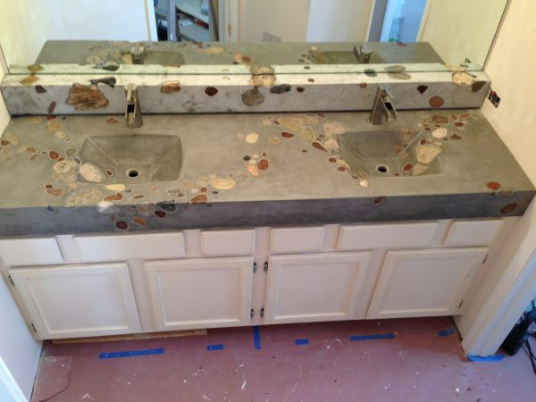 Inhabit Concrete Design   Rock River Dual Integral Sink Countertop  and Ledge