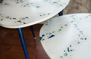 decorative concrete white reclaimed glass guitar pic tables nesting detail