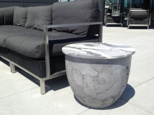 Concrete Tricolor Drum Tables, texture, round table, drum shaped table, Catalyst