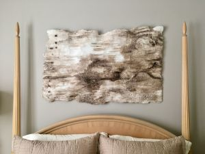 Biophilic design, hand-made, birchbark, texture, woodpecker holes, brown, interior design, luxe